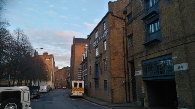 Walking down Wapping High Street towards St Katherine's Docks. All of the old wharves have now been converted for residential or office use.