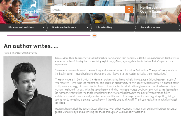 Herts Libraries Chris Danson profile