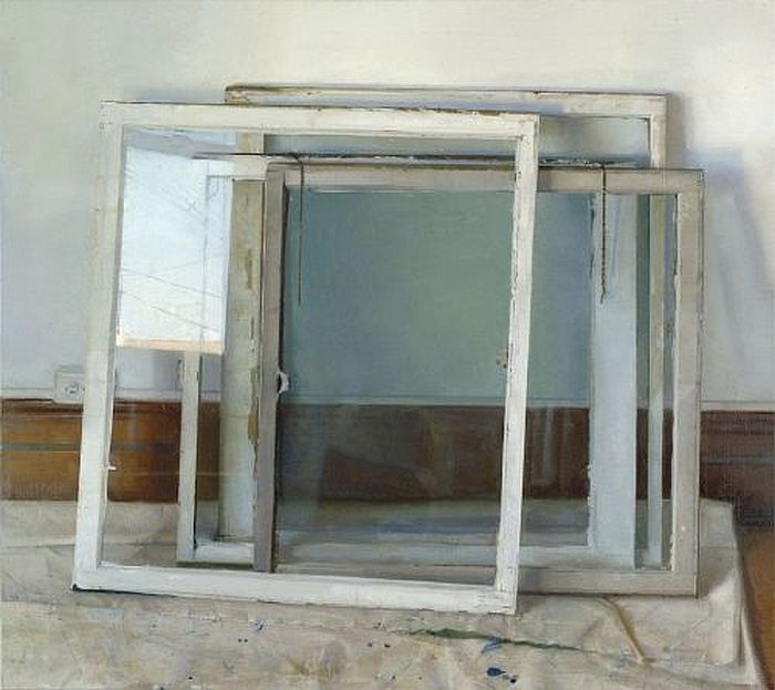Christopher Gallego, Window Panes, 2002, Oil on canvas, 48 x 54 in. Private Collection