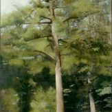 Christopher Gallego, American, b. 1959, big pine, 2009, oil on wood panel, 29 x 19 in., Sold