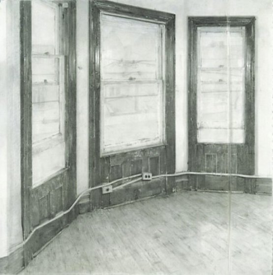 Christopher Gallego, American, b. 1959, Studio Windows, 2002, charcoal and graphite on paper, 60 x 57 in., Sold