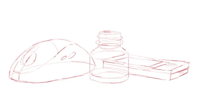 mouse, jar, and phone roughed out with basic shapes