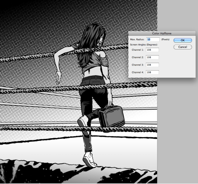 Screen tone and settings we used in the Color Halftone filter.