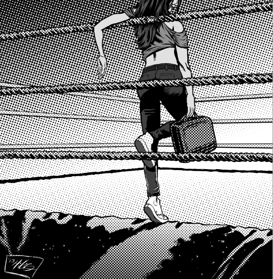 Ring ropes, tarp and mat with screen tones