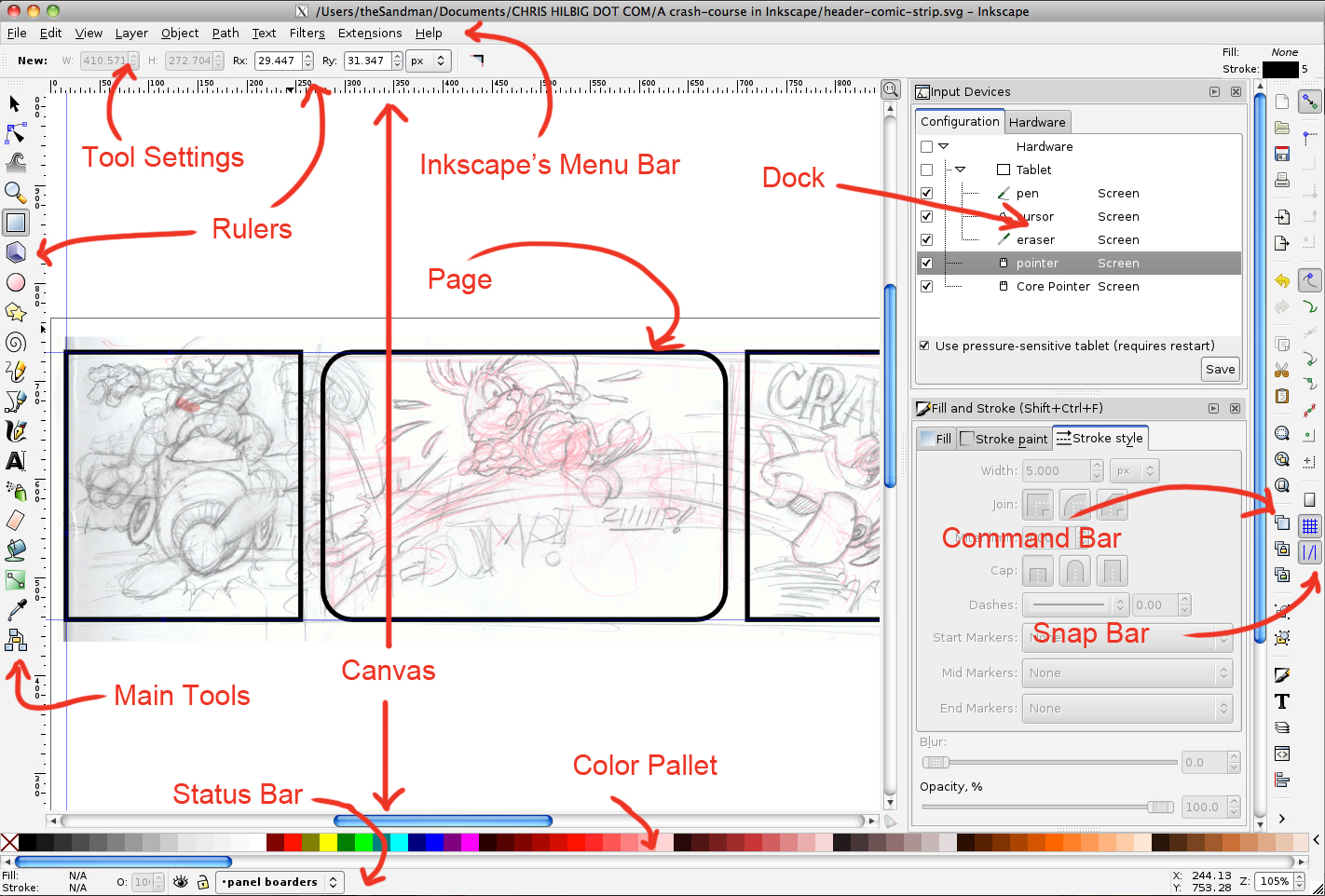 A crash course in inkscape chris hilbig beta edition inkscapes interface overview ccuart Choice Image