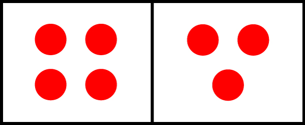 An example of using an even number of dots in the left square, and an example of using the rule of odds to the right