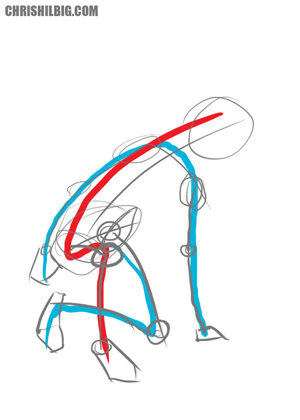 Stick figure created with action lines as its basis