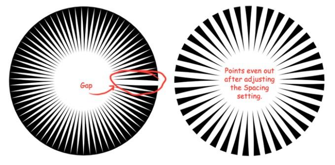 radial bursts after Spacing adjustment