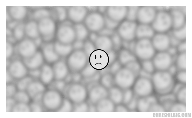 Unhappy face on top of field of depth technique