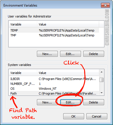 Find the Path variable and click edit.
