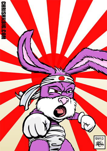 A bunny warrior infront of a Japanese war flag