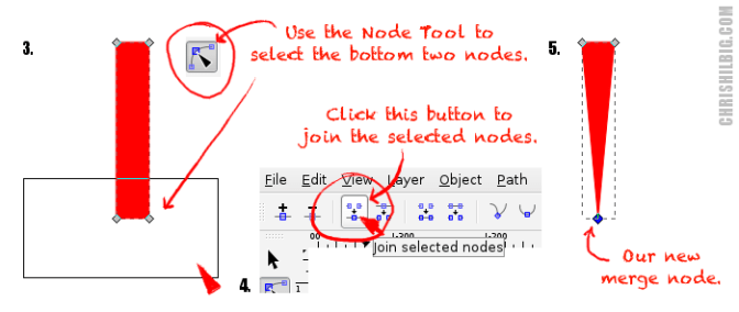 Select the bottom two nodes of the rectangle. Merge the two nodes.