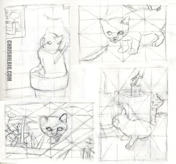 thumbnail sketches of kitten photos.
