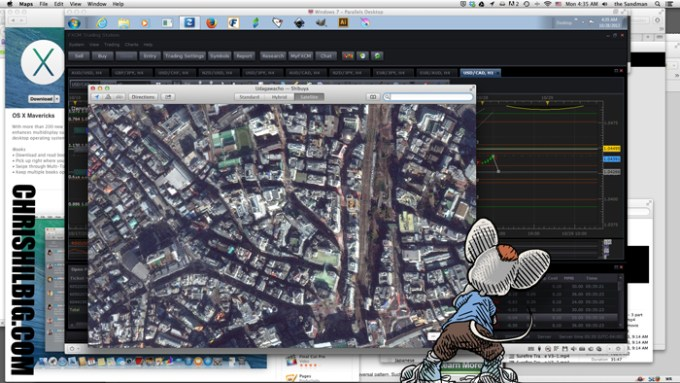 Willard the Mouse looking up close at Mac OS X Mavricks