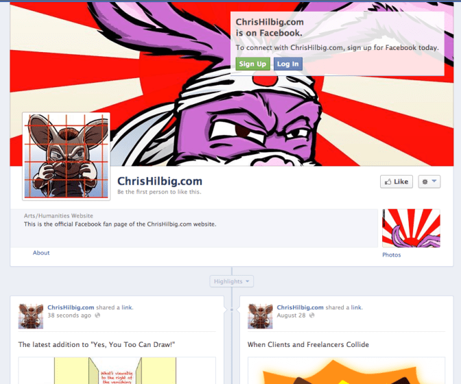 Screen grab of ChrisHilbig.com facebook page