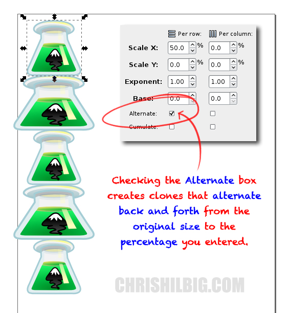 Checking the Alternate box creates clones that alternate back and forth from the original size to the percentage you entered.