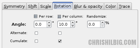 A screen shot of the Rotation tab with 10 degree per column rotation and Cumulate checked.