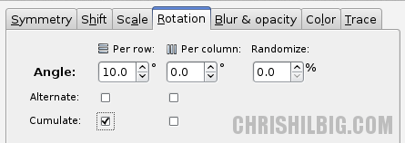 A screen shot of the Rotate tab within the Create Tiled Clones window. The Cumulate check box under Per Row is selected.