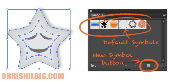 Vector Star graphic and the Symbol pallet