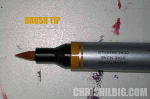 brush tip of watercolor marker