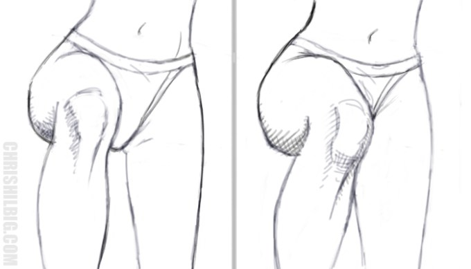 A comparison showing a woman's right leg shifting from a straight-on view to an angled view demonstrating foreshortening.