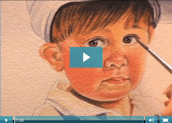 Cindy Agan painting boy's face from Daddy's Train. Video copyright 2015 Artist Network TV