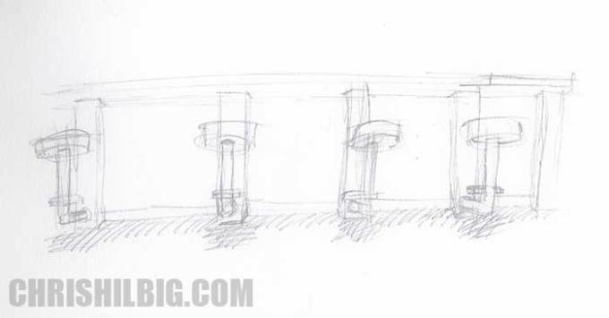 Chris Hilbig's sketch of a bar