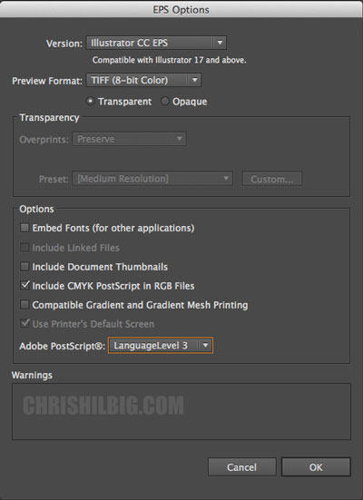 Adobe Illustrator CC Eps options
