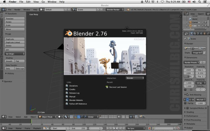 Blender 3D at start up