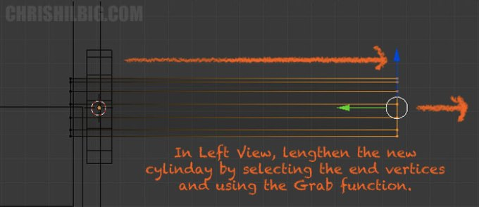 We'll lengthen the new cylinder by selecting one side and using the Grab function.