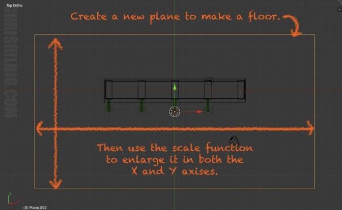 To create a floor, add a plane and enlarge it using the scale function.