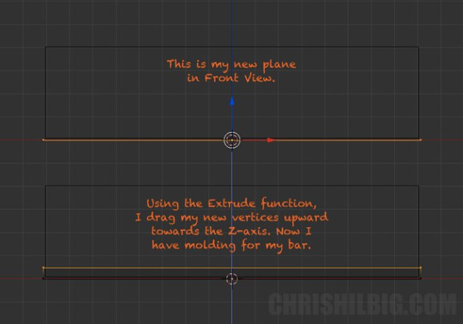 I'll use the extrude function to turn my new plane into molding.