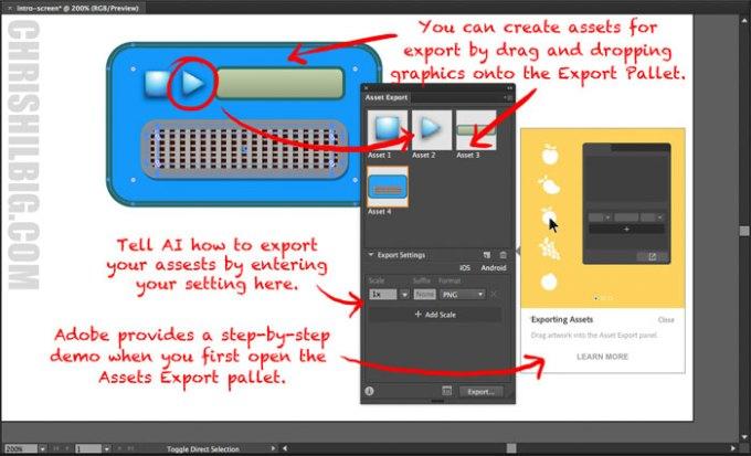 How the Asset Export in  Adobe Illustrator CC 2015.3 pallet works.