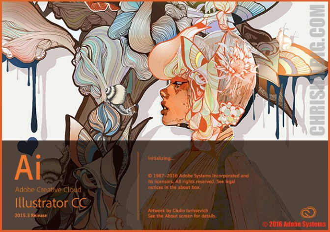 Screen shot of Adobe Illustrator CC 2015.3's new splash screen art