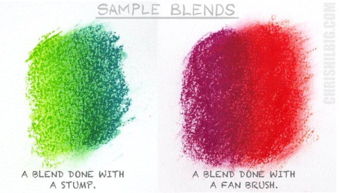 sample blends using a stump and a fan brush
