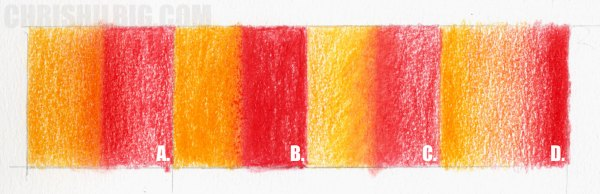 A set of Goldfaber color pencil blending test