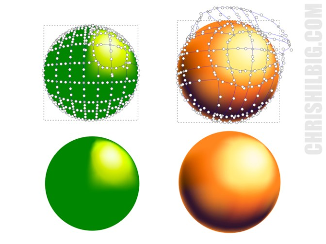 sample spheres created using gradient meshes