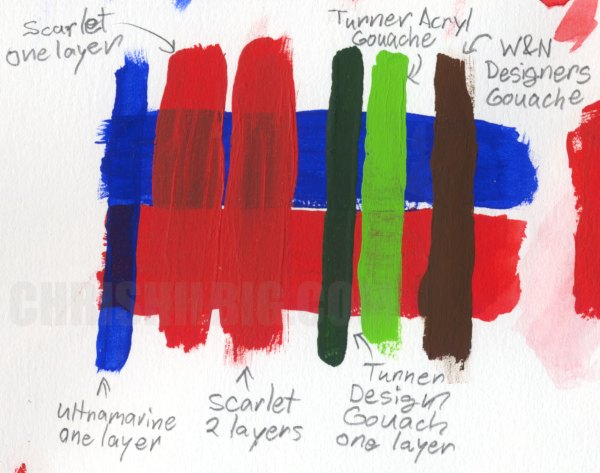 Sample strokes comparing different gouaches and acrylic gouaches