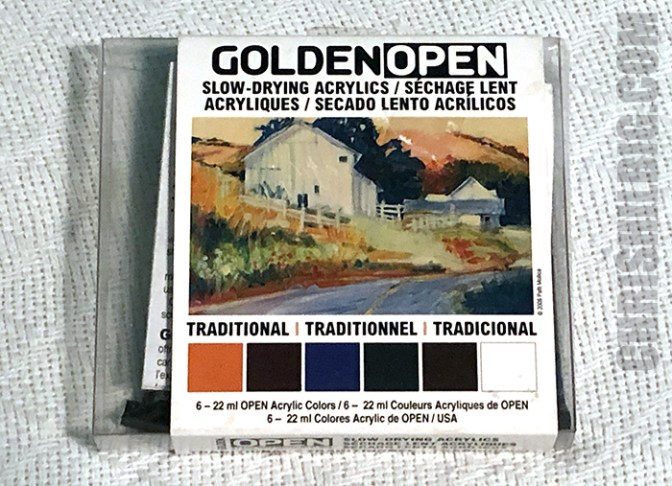 Package of a Traditional Set of Golden Open Acrylics.