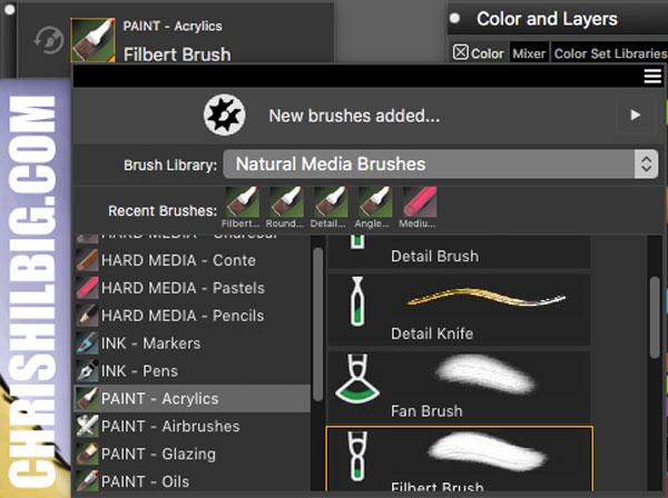 brush stroke previews in Corel Painter 2020