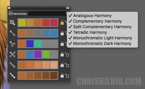 color harmonies pallet in Corel painter 2020