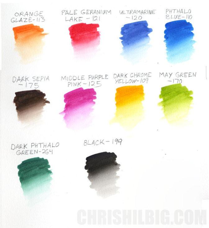 Color samples from a 10-pack of Faber-Castell Albrecht Durer Watercolor markers
