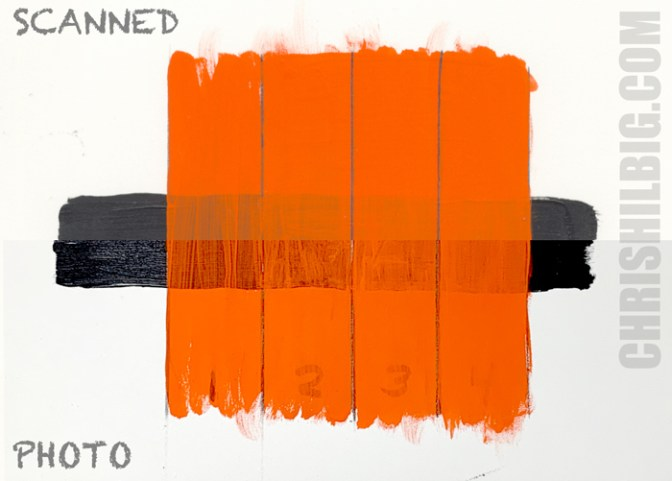 A sample of Turner Acryl Gouache on top of a strip of black, from 1 to 4 layers of paint.