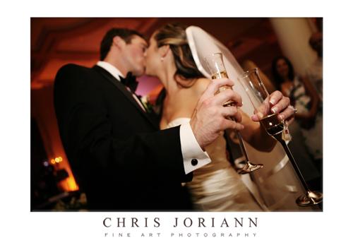 bride groom toasting