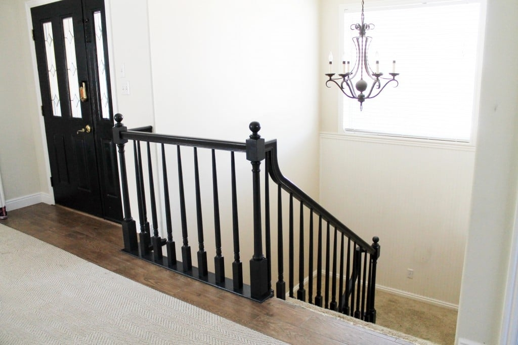 The Banister Is Painted Chris Loves Julia | Painted Black Stair Railing | Carpet | High Gloss | Wall Both Side | Step | Colour Combination