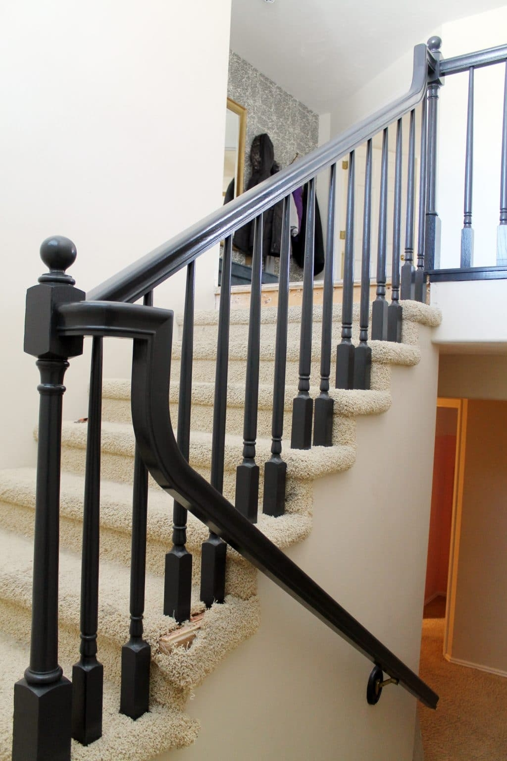 The Banister Is Painted Chris Loves Julia | Black And White Staircase Railing | Colour Combination | House | Indoor | 1920'S | Floors