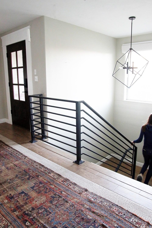 All The Details On Our New Horizontal Stair Railing Chris Loves | Split Level Stair Railing | Wrought Iron | Julia | Modern | Easy Diy | Fancy