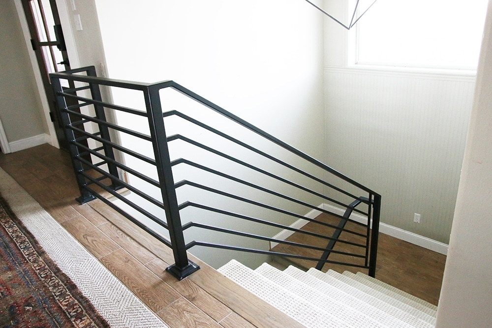 All The Details On Our New Horizontal Stair Railing Chris Loves   Cost Of New Banister And Spindles   Chris Loves Julia   Stair Parts   Stair Treads   Paint   Iron Stair