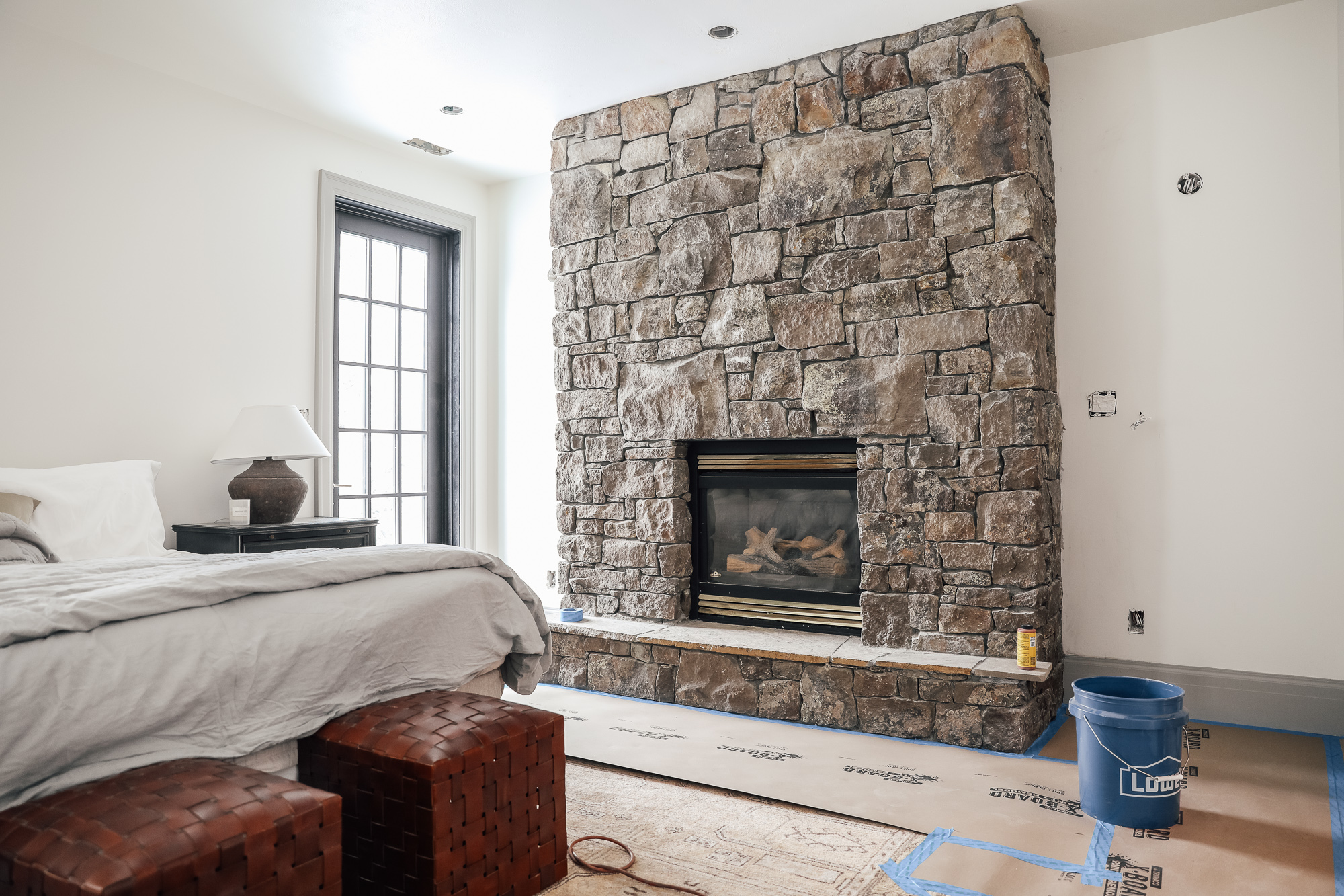 diy over grouted stone fireplace