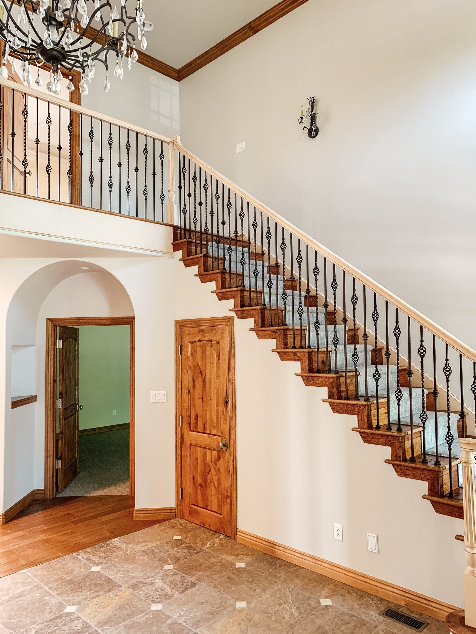 How We Completely Updated Our Stair Railings By Only Swapping Out   Wood Stairs And Railings   New   Stairway   Architectural Modern Wood Stair   Color   Basement